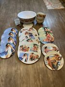 Coca Cola Vintage Melamine Dishes Lot Of 22 Bowls Small And Large Plates Serving