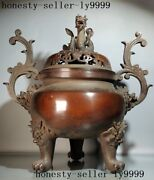 Chinese Temple Pure Purple Copper Bronze Loong Dragon Incense Burner Censer