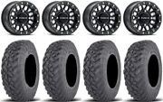 Raceline Podium Bdlk 14 Wheels Bk +38mm 28 Gripper T/r/k Tires Can-am Defender