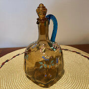 Antique Blown Amber Glass Cruet W/blue Rope Handle And Stopper - Painted - Signed