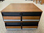 Two Vintage Vhs 2-drawer 24-tape Storage Cabinets Faux Wood Grain Stackable