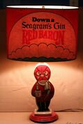 Euc Rare Vintage And Highly Collectible Seagram's Gin Red Baron Table Lamp 1960's