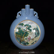 12rare China Old Antique Qing Dynasty Pastel Gilding Character Vase