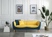 Greatime Modern Blue And Yellow Two-tone Fabric Sofa With Wooden Legs