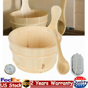 Sauna Accessories Kit Wooden Bucket And Water Scoop Hourglass And Thermometer Usa