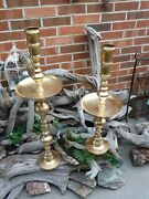 Vintage Pair Brass Candlesticks 36.5 High And 28.5 High Set Of Two W/ Drip Trays