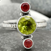 Natural Peridot And Garnet 925 Sterling Silver Ring S.7.5 Jewelry 8411