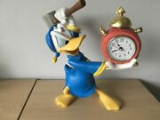 Extremely Rare Walt Disney Donald Duck Angry At Alarm Clock Figurine Statue