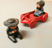 Wilton Tiny Metal People Small Figures Cart Farm Amish Old Time Gift Vintage Ws