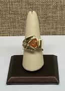 14k Solid Yellow Gold Menand039s Diamond Ring With Orange Stone