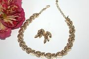 Crown Trifari Signed Designer High End Brushed Textured Necklace Earrings Sd2