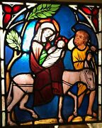 Victorian Ca 1875 Zettler Stained Glass Panel - Mary And Jesus On Donkey Joseph