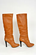 Domenico Vacca Women's Knee High Boots Camel Brown Leather Size 9.5 New Reduced