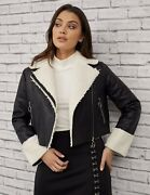 Teddy Lined Leather Moto Jacket