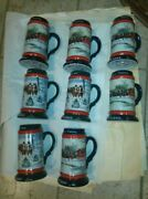 Lot Of 8 Beer Budweiser Beer Mugs3 From 19915 From 1990.mint Condition.