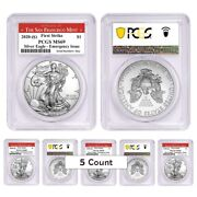 Lot Of 5-2020 S 1 Oz Silver American Eagle Pcgs Ms 69 Fs Sf Emergency Issue