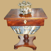 Rare Antique Early 19th Century Miniature Sewing And Chess Table