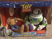 90's Vintage Disney Pixar Toy Story Woody Doll And Buzz Lightyear