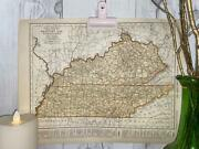 Vintage Map Of Kentucky Tennessee, Old Map, Travel Decor, Historical Art Maps