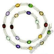 14k White Gold Bezel Set Oval Colored Gemstone Dual Twisted Cable Necklace 16.5
