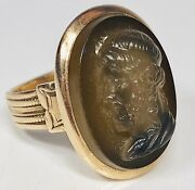 Antique 19th Century 14k Yellow Gold Finely Carved Stone Cameo Menand039s Ring Size 8