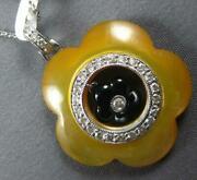 Large 11.62ct Diamond And Aaa Mother Of Pearl And Onyx 18k White Gold Flower Pendant