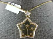 Large .86ct Diamond 18k Yellow Gold 3d Classic Double Star Love Floating Pendant