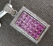 Extra Large 3.58ct Diamond And Aaa Pink Sapphire 14kt White Gold Floating Pendant