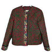 Vintage Vera Bradley Quilted Red Green Christmas Bows Button Blazer Size M