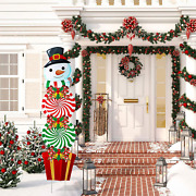 Christmas Yard Signs Stakes Decorations Xmas Snowman Plastic Yard Decor Outdoor