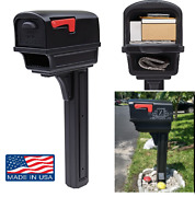 Gibraltar Plastic Mailbox With Post Large Capacity Mail Box Rust Proof Combo Kit