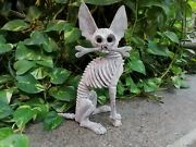 Pp835 Beutiful Oaxacan Wood Carving Skeleton Dog, By Alejandrino Fuentes.