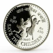 Nepal 250 Rupees Save The Children Series Dancing Children Silver Coin 1990