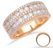 Wide 1.25ct Diamond 14kt Rose Gold 3d Multi Row Round Channel Anniversary Ring