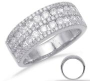 Wide 1.25ct Diamond 14kt White Gold Multi Row Channel Classic Anniversary Ring