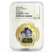 Niue 1 Dollar Star Wars R2-d2 Droid Pf-70 Ngc Colored Gilded Coin 2011