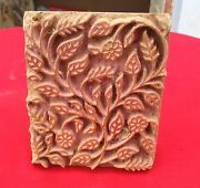 1930s Wooden Hand Carved Leaves Textile Printing Blocksingle Wood94