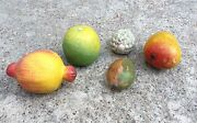 Vintage Hand Painted Wooden/clay Mango,pomegrante,orange,grapes 5 Fruits