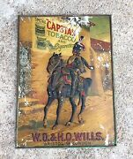 Antique Scarce Wd And Ho Wills Embossed Capstan Tobacco And Cigarette Litho Tin Sign