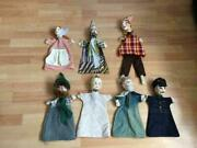 Vintage Hand Puppets Lot Of 7 Cotton Fabric Clown King Police Princess Creepy
