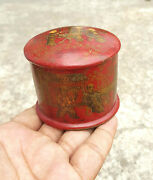 19c Antique Rare Chinese Monks Painted Wooden Box Golden Work Collectible