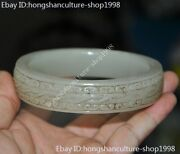 Chinese Natural Hetian Old Jade Hand-carved Pattern Statue Bracelet Bangle