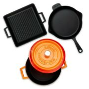Lava Kitchen Picnic Camping Iron Casting Grill And Cookware 4 Pcs Set Orange