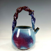 9.2old China Song Dynasty Ancient Porcelain Blue Glaze Purple Markings Pot