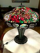 Arts And Crafts Oversized Style Leaded Mosaic Glass Table Lamp 20th Cent