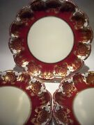 Very Rare Copelands Raised Gold Encrusted Beaded Red Cabinet Plates Aprx. 9 In
