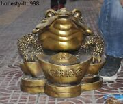 Chinese Fengshui Brass Copper Yuanbao Money Wealth Bufo Golden Toad Lucky Statue
