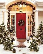 Pottery Barn Christmas Holiday Outdoor Indoor Pine Garland 60 Red Silver New