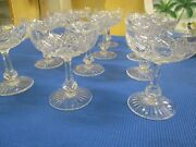 Vintage French Baccarat 12 Cut Crystal Footed Champagnes, Cobert