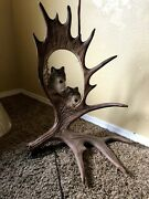 Custom-made Lamps--majestic Carved Moose Antlers With Wolf Paintings